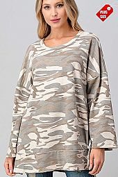 CAMO SLIT SIDES BANDED TOP PLUS