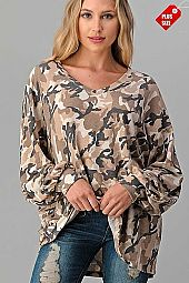 CAMO V-NECK PUFF SLEEVE TOP PLUS