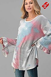 TIE DYE WIDE RUFFLE SLEEVE TOP PLUS