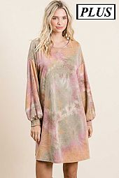 Tie Dye French Terry Cross Back Plus Dress