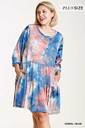 Marble Tie-Dye 3/4 Sleeve Round Neck Tiered Knit Dress
