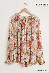 Sheer Floral Print Long Puff Sleeve Blouse