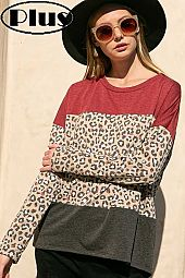 TERRY ANIMAL SOLID COLOR BLOCKED HIGH LOW PLUS TOP