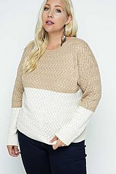 Color Block Cable Knit Pullover