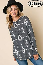 TERRY AZTEC PRINT LONG SLEEVE HOODIE PLUS TOP