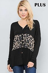 SOLID AND ANIMAL PRINT BUTTON DOWN V NECK TOP