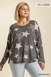 Star and Animal Print Round Neck Waffle Knit Top