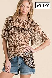 PLUS CHEETAH PRINT MESH TOP