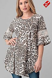 LEOPARD PRINT  LACE COMBO TOP PLUS