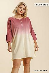 Dip Dye French Terry Button Tab on Sleeves Dress