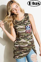 CAMOUFLAGE FLAG POCKET PLUS TANK TOP