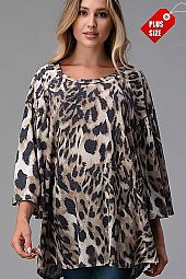 ANIMAL PRINT  SHIRRED BELL SLEEVE TOP PLUS