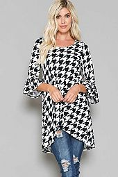 HOUNDSTOOTH ROUND NECK HI-LOW TUNIC