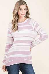 STRIPED BRUSHED FRENCH TERRY ROUND NECK DETAIL TOP