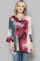 TIE DYE PRINT KEY HOLE TOP