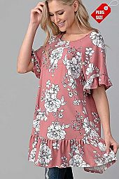 FLORAL RUFFLE SLEEVE  BOTTOM TUNIC PLUS