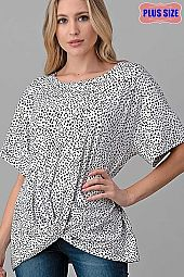 SPOTTED PRINT KNOTTED BOTTOM LOOSE FIT TOP PLUS