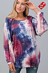TIE DYE SHIRRED SLEEVE SHOULDER TOP PLUS