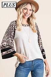 Plus Animal Color Block Waffle Top