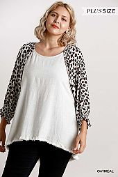 Animal Print Frayed Hem Top