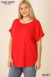 PLUS WOVEN HEAVY DOBBY ROLLED SLEEVE BOAT NECK TOP