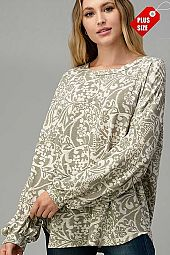 DAMASK  PUFF SLEEVE LOOSE FIT TOP PLUS