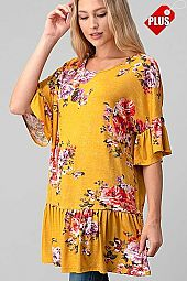 FLORAL RUFFLE SLEEVE TUNIC TOP PLUS