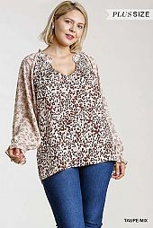 Ruffled Puff Sleeve Top with Side Slits