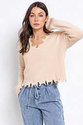 DISTRESSED EFFECT V-NECK PULLOVER SWEATER