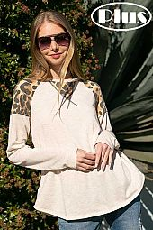 ANIMAL PRINT AND SOLID MIXED ROUND NECK PLUS TOP