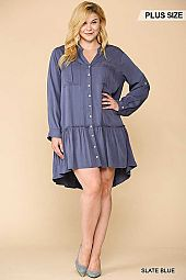Solid Ruffled Hem Button Down Dress
