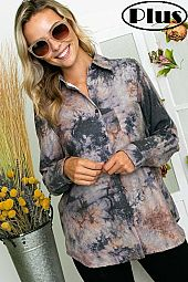 TIE DYE FLEECE LINED BUTTON DOWN PLUS SHIRT TOP