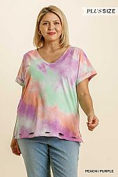 Tie Dye V-Neck Short Folded Sleeve Cut Out Detail Top