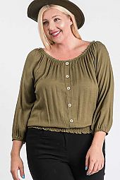 POLY LINEN SOLID CF BUTTON TOP