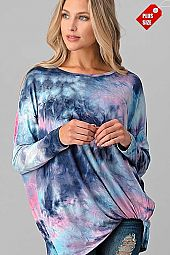 TIE DYE TWIST HEM LONG SLEEVE TOP PLUS
