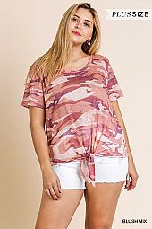 CAMO PRINT SHORT SLEEVE ROUND NECK TOP