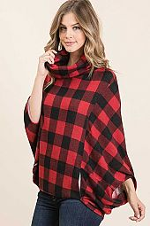 PLAID PRINT MIRR FABRIC COWL NECK PONCHO TOP WITH POCKET