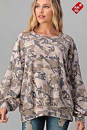 CAMO PUFF SLEEVE BANDED TOP PLUS