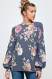 FLORAL PRINT FRENCH TERRY BALLOON SLEEVE TOP