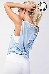 Plus Distressed Tri Blend Sleeveless Knit Top