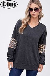 FRENCH TERRY SOLID ANIMAL MIXED PLUS TOP