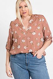 PLUS FLORAL PRINT PIN TUCK BLOUSE