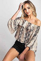 SNAKE SKIN OFF THE SHOULDER TOP