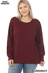 PLUS ROUND NECK BASIC SWEATER