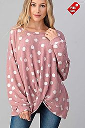 POLKA DOT TWIST HEM RELAXED FIT TOP PLUS