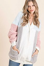COLOR BLOCK SNAP BUTTON OPEN CARDIGAN