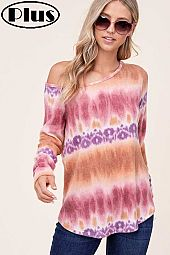 ANGORA TIE DYE ONE SHOULDER LONG SLEEVE PLUS TOP
