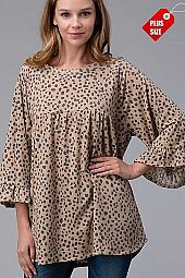 ANIMAL PRINT  SHIRRED RUFFLE SLEEVE TOP PLUS
