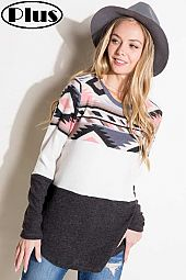 BRUSHED HACCI SOLID AZTEC COLOR BLOCKED PLUS TOP