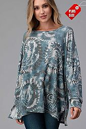 MULTI PRINT SLIT SIDES OVER SIZE TOP PLUS